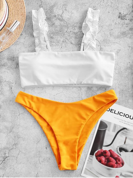 best ZAFUL Lettuce Straps Colorblock High Leg Bikini Swimsuit - BRIGHT YELLOW M