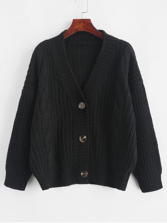 shops ZAFUL X Luna Montana Button Front Chunky Cable Knit Cardigan - BLACK ONE SIZE