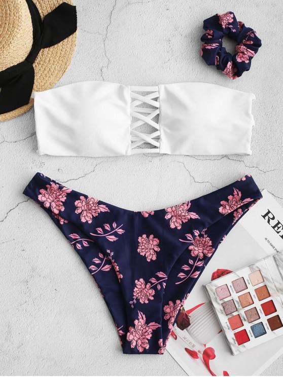 ZAFUL Flor Malha Bandeau Bikini Swimsuit com o laço do cabelo - Azul Escuro de Denim  L