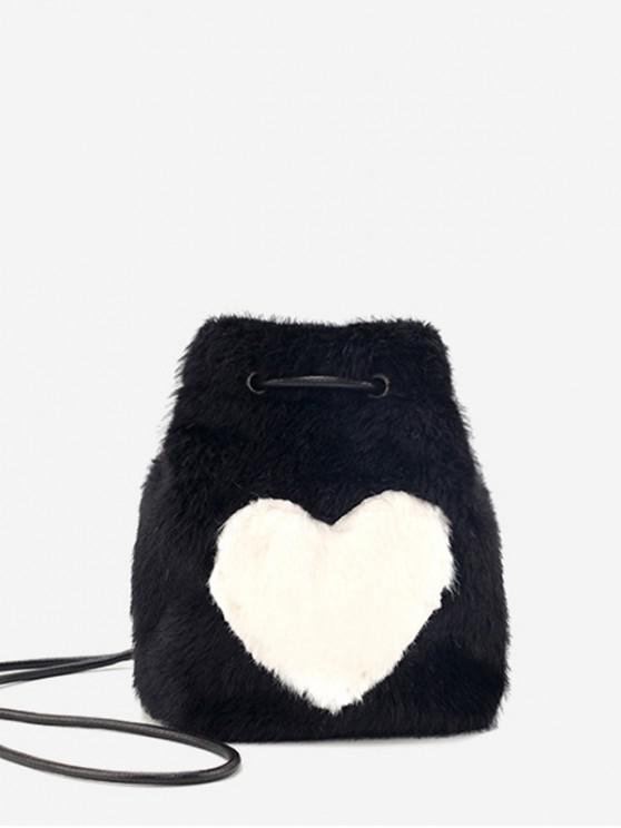 shops Heart Pattern Faux Fur Mini Crossbody Bag - BLACK