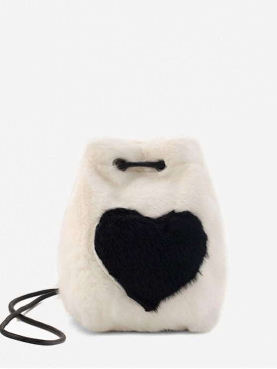 แบบหัวใจขน Faux กระเป๋า Crossbody มินิ - ขาว