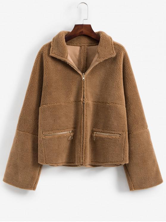 best Zipper Pocket Drop Shoulder Teddy Coat - BROWN L