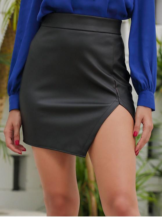 lady Cut Out Faux Leather Asymmetric Skirt - BLACK M
