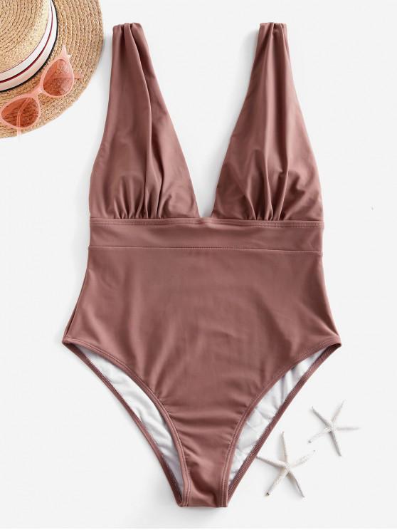 fancy ZAFUL Ruched Drop Armhole Plunge One-piece Swimsuit - KHAKI ROSE XL