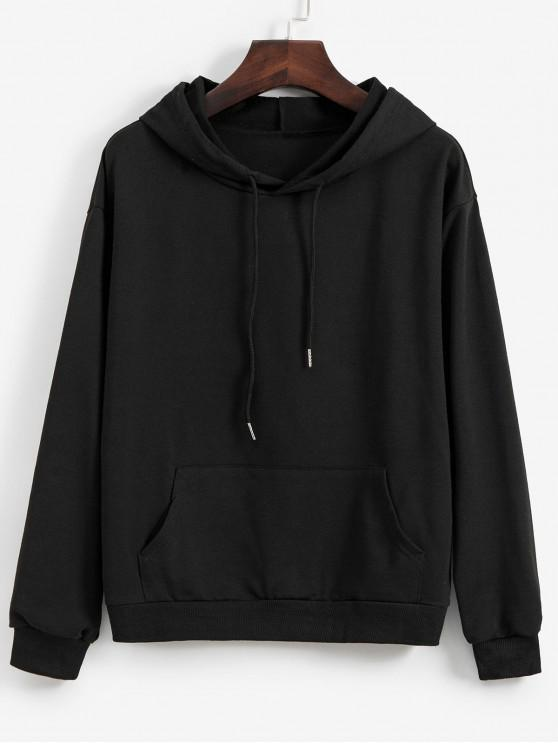 outfit Dragon Graphic Front Pocket Drawstring Hoodie - BLACK XL