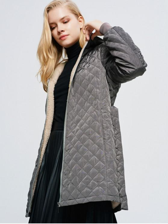 womens Hooded Fluffy Lined Belted Pocket Quilted Coat - DARK GRAY S