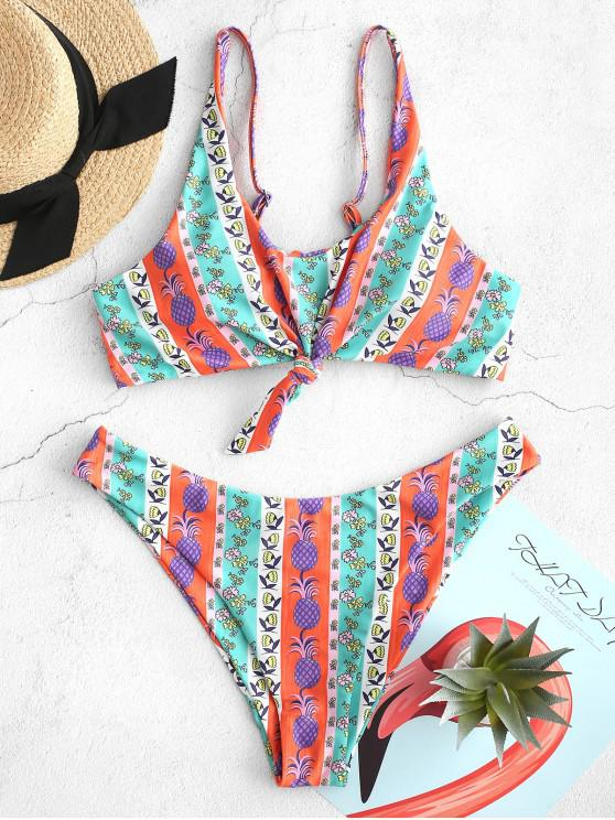 women's ZAFUL Ethnic Pineapple Flower Knotted Lace Up Bikini Swimsuit - MULTI-A S