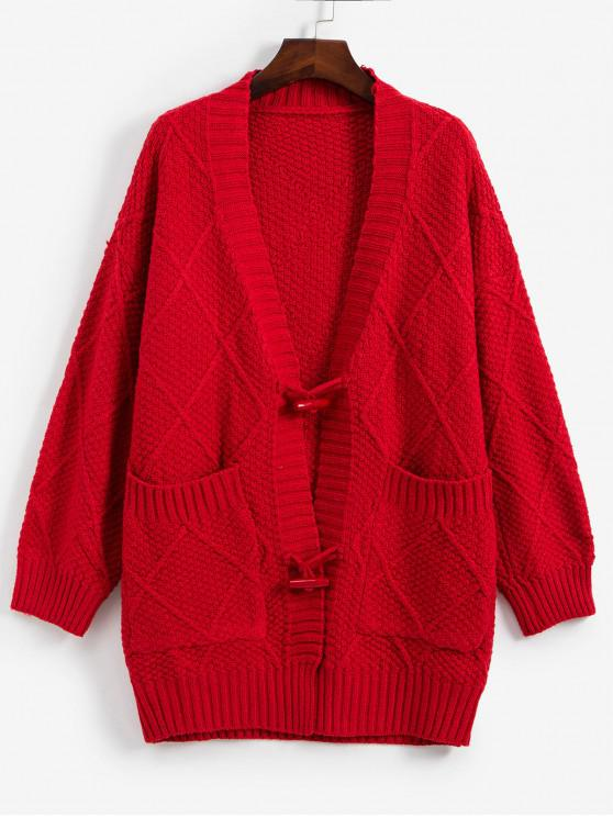 womens Christmas Horn Button Drop Shoulder Pocket Tunic Cardigan - RED ONE SIZE