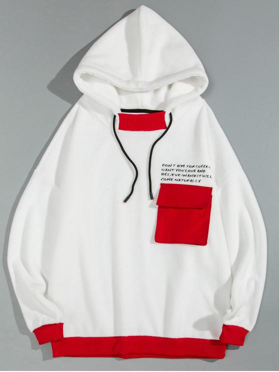 hot Letter Print Contrast Trim Fluffy Pocket Drawstring Hoodie - WHITE 2XL