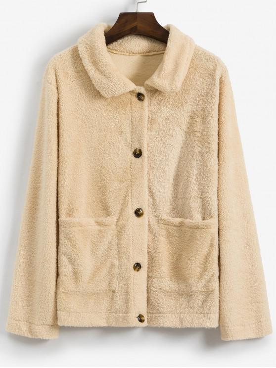 best Fluffy Single Breasted Pocket Teddy Jacket - LIGHT KHAKI S