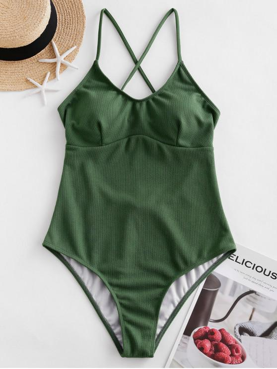 fashion ZAFUL Ribbed Textured Backless One-piece Swimsuit - HAZEL GREEN M