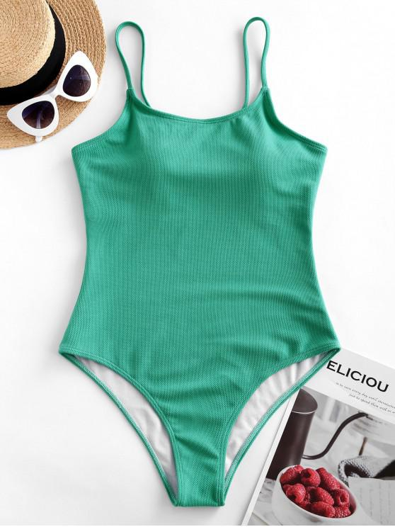 unique ZAFUL Basic Textured Wire Free One-piece Swimsuit - MACAW BLUE GREEN S