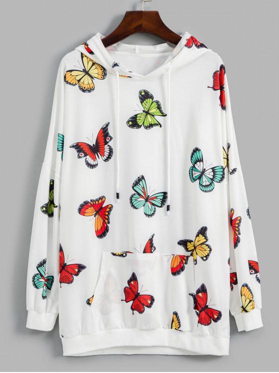sale Butterfly Graphic Kangaroo Pocket Drop Shoulder Hoodie - WHITE L