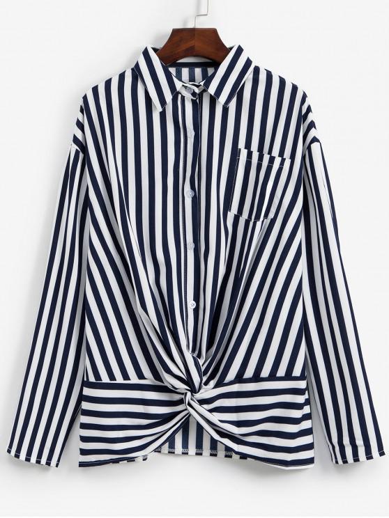 Camisa a rayas de hombro trenzado de bolsillo gota - Azul profundo L