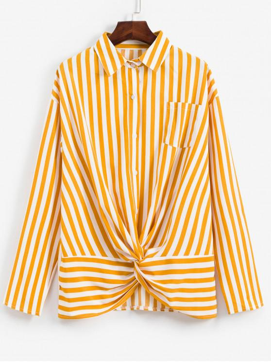 shops Striped Twisted Pocket Drop Shoulder Shirt - YELLOW L
