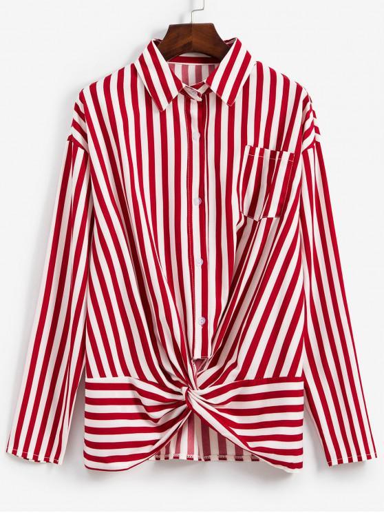 best Striped Twisted Pocket Drop Shoulder Shirt - RED WINE M