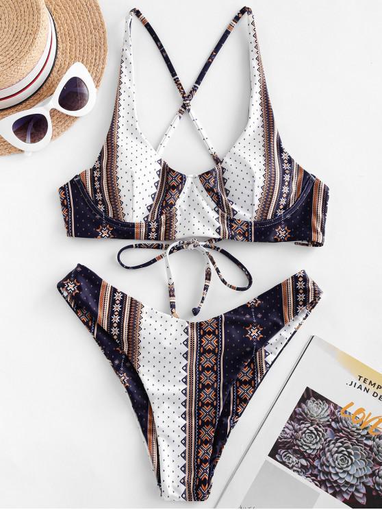 fancy ZAFUL Ethnic Printed Cinched Underwire Bikini Swimsuit - MULTI-A M