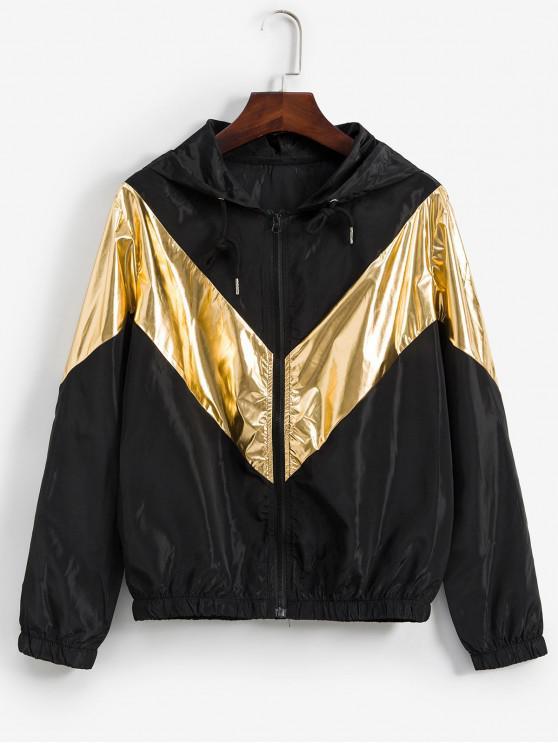 sale Metallic Two Tone Hooded Zip Pocket Jacket - BLACK L