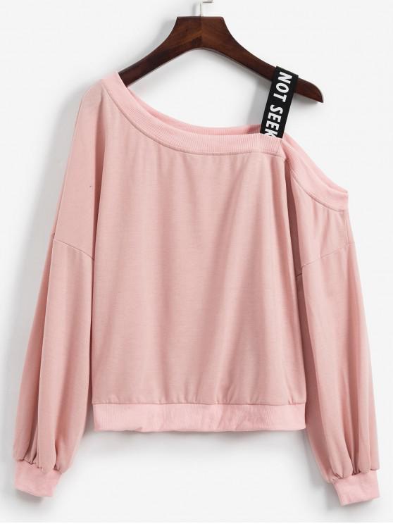 Sweat-shirt Epaule Dénudée à Manches Lanternes à Col Oblique - Rose  L