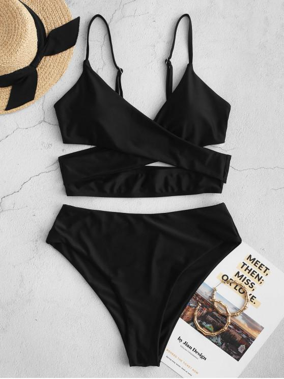 women's ZAFUL Crossover High Cut Cutout Tankini Swimsuit - BLACK S