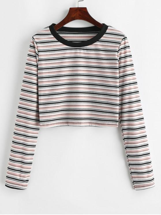 new Striped Ribbed Long Sleeve Tee - MULTI M