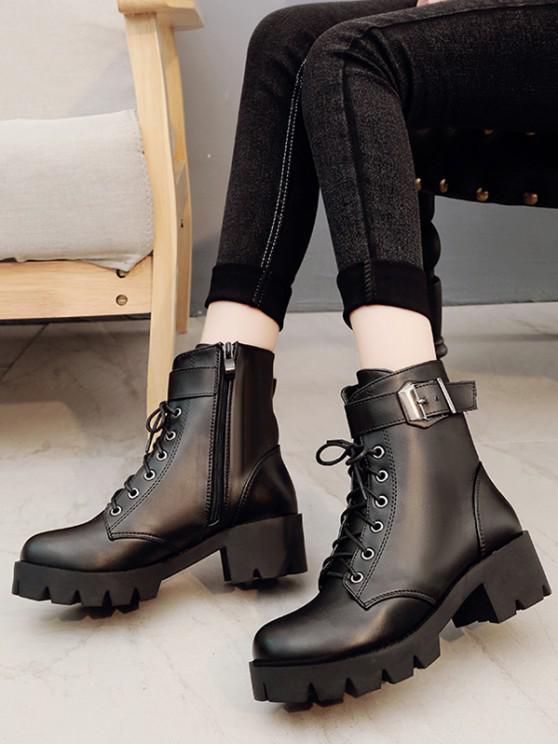 affordable Plain Chunky Heel Lace Up Short Boots - BLACK EU 38