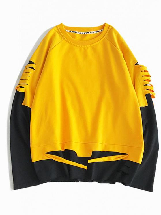 Sweat-shirt Déchiré en Blocs de Couleurs à Manches Raglan Fausse Deux Pièces - Jaune Canard Caoutchouc XL