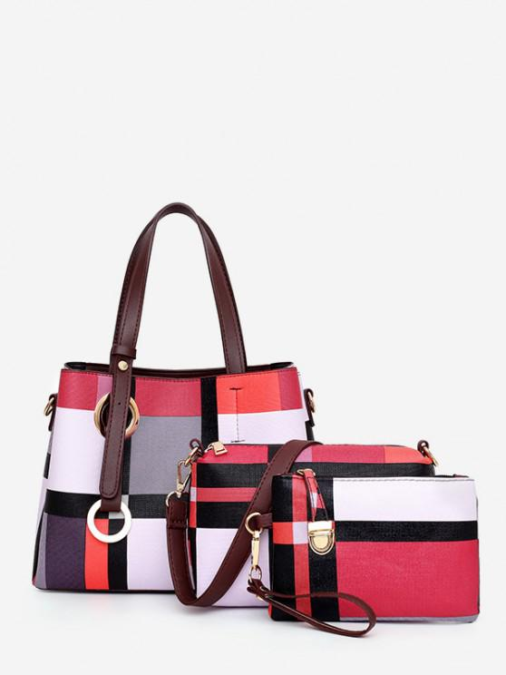shops 3Pcs Grid Striped Handbag Shoulder Bag Set - PINK