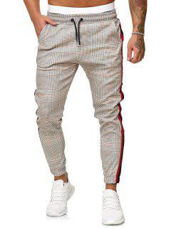 Pantalones Jogger Estampado Pata De Gallo Cordón - Multicolor-c M