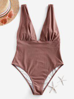 ZAFUL Ruched Drop Armhole Plunge One-piece Swimsuit - Khaki Rose M