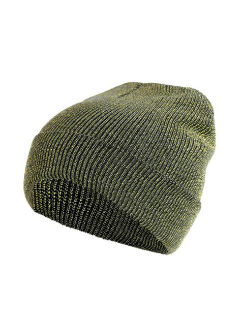 chic Winter Silver Knitted Elastic Hat - GREEN ONION  Mobile