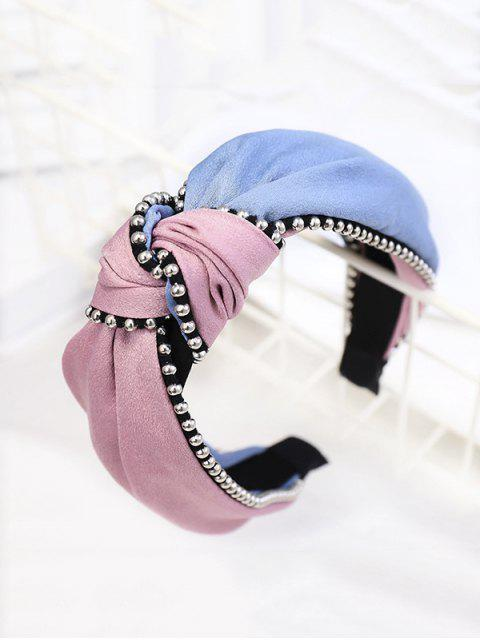 fancy Two Tone Knot Beads Hairband - PINK  Mobile