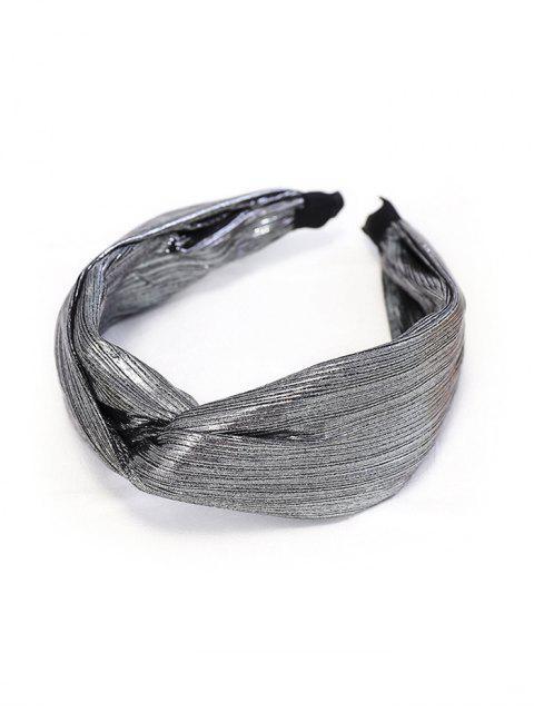 Bande de Cheveux Large Croisée Métallique en Tissu - Gris argenté  Mobile