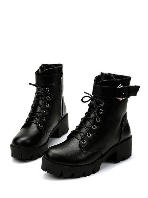 fashion Plain Chunky Heel Lace Up Short Boots - BLACK EU 39 Mobile
