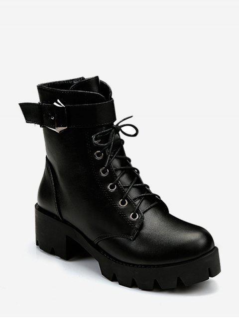 На толстом каблуке На шнуровке Короткие Сапоги - Чёрный ЕС 36 Mobile