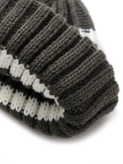 womens Striped Outdoor Casual Woolen Winter Knitted Hat - DARK GRAY  Mobile
