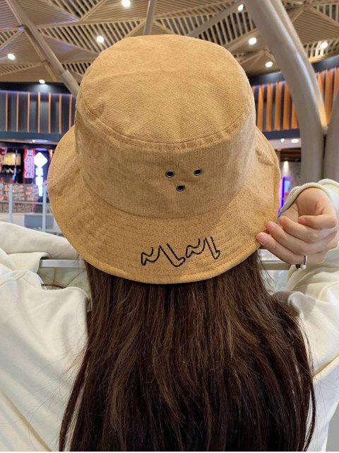 new Chic Character Embroidered Bucket Hat - KHAKI  Mobile
