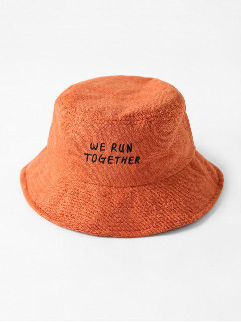 unique Chic Character Embroidered Bucket Hat - TANGERINE  Mobile