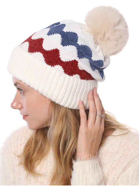 affordable Thick Fuzzy Ball Knitted Winter Woolen Hat - WHITE  Mobile