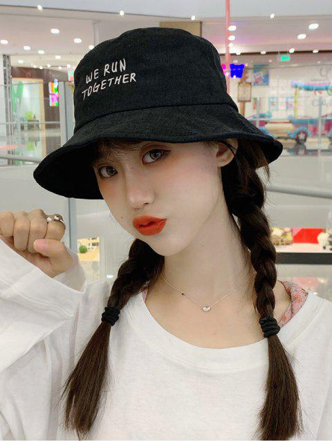 trendy Chic Character Embroidered Bucket Hat - BLACK  Mobile