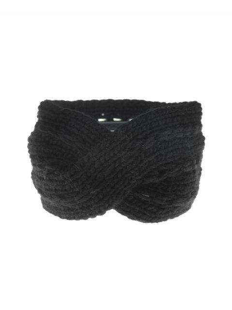 sale Winter Cross Bowknot Knitted Hair Band - BLACK  Mobile