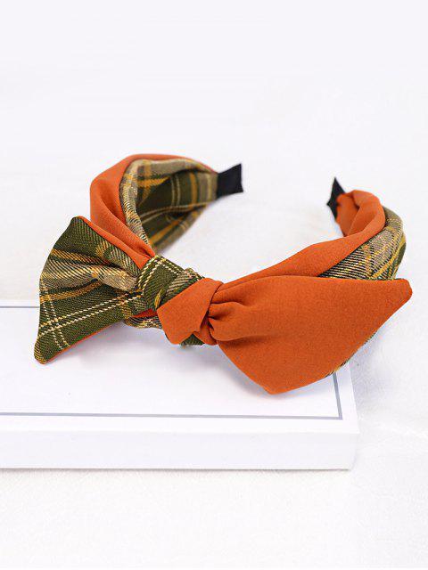 shop Colorblock Plaid Fabric Bowknot Hairband - TIGER ORANGE  Mobile