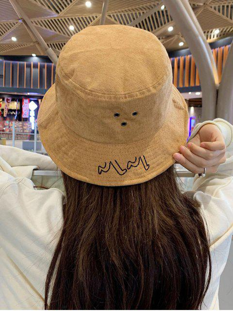 trendy Chic Character Embroidered Bucket Hat - YELLOW  Mobile