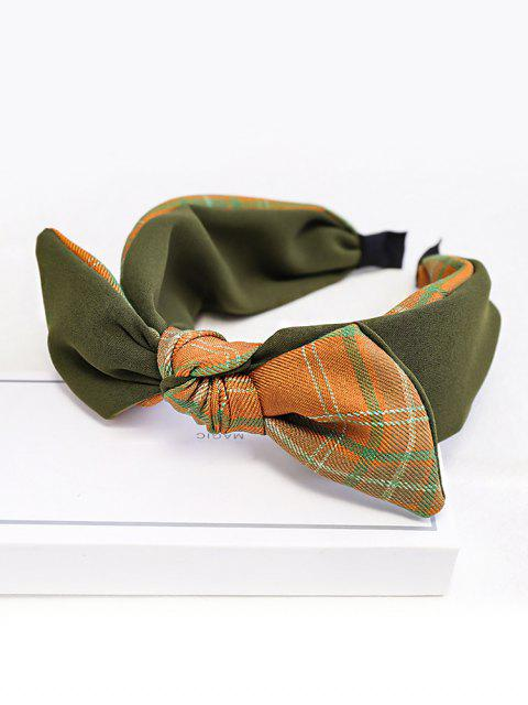 ladies Colorblock Plaid Fabric Bowknot Hairband - ARMY GREEN  Mobile