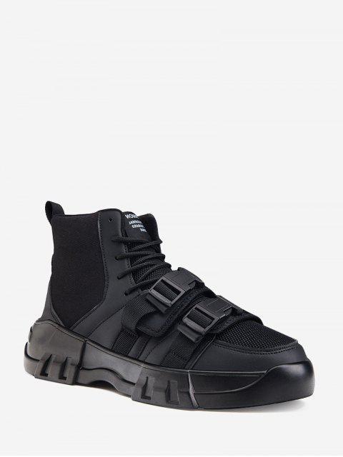 fashion Dual Clasp Buckle Breathable Casual Short Boots - BLACK EU 42 Mobile