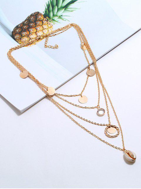 Collier Superposé Coquille Pendant Rond - Or  Mobile