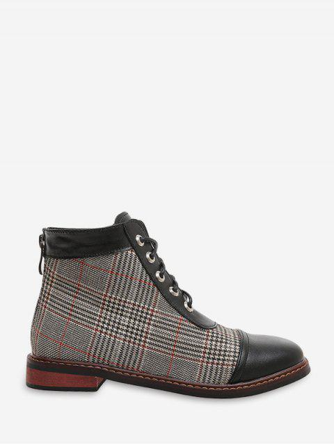 outfits Leather Trim Houndstooth Ankle Boots - LIGHT KHAKI EU 40 Mobile
