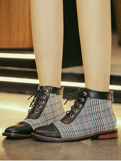 affordable Leather Trim Houndstooth Ankle Boots - PEACOCK BLUE EU 39 Mobile