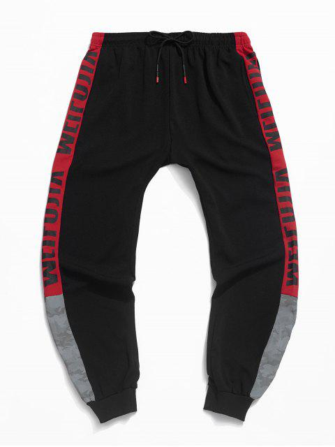 best Camo Letter Printed Color Spliced Jogger Pants - RED S Mobile