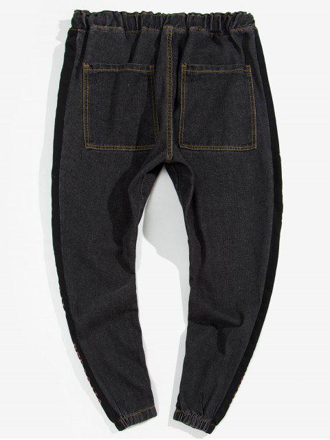 new Side Letter Drawstring Jogger Jeans - BLACK L Mobile